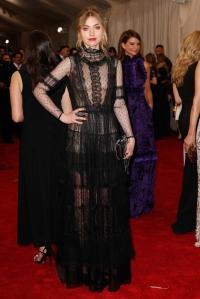 Imogen Poots at the 2015 Met Gala, wearing Alberta Ferretti.